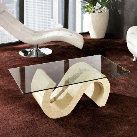 Table Basse De Salon En Pierre Fossile Et Verre Jordan En 2021 Table De Salon Table Basse Table Basse Salon