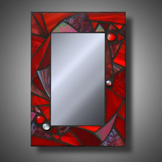 "Super Funky Red Mosaic Mirror, Stained Glass Accent Mirror, 8"" x ..."