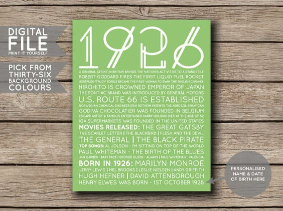 Personalised 1926 Facts & Trivia Print -------------------- This listing is for a digital file that you can print yourself or have printed at a printing/photo printing store.  If youre after a year that I dont have in my shop, you can order a custom poster with the year of your choice here: https://www.etsy.com/au/listing/384861212/custom-year-printable-birthday-or?ref=listings_manager_grid  The print is available in six sizes:  - 8 x 10 inches - 11 x 14 inches - 16 x 20 inches - A4 (210 x…