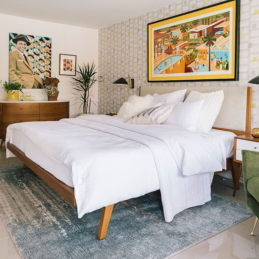 Modern Show Wood Bed King, Yarn Dyed Linen Weave, Pumice in ...