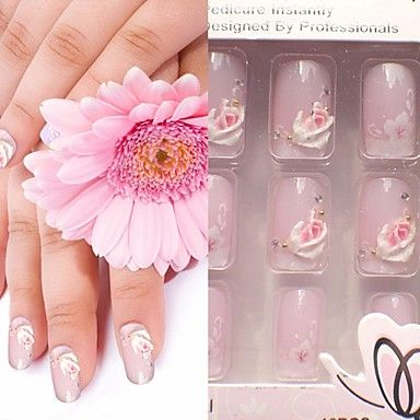 Pink Delicate Roses Nail Art Rhinestone With Nail Glue – USD $ 3.99