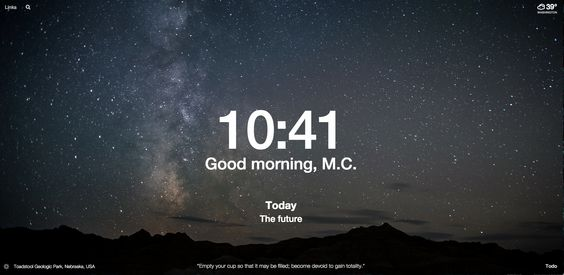 My Momentum (personal desktop image for today. The quote at the bottom is by Bruce Lee.   Perfect in every way today.  (momentumdash.com)