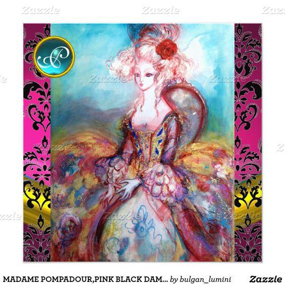 MADAME POMPADOUR,PINK BLACK DAMASK FLOWER MONOGRAM INVITATION