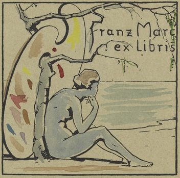 By Franz Marc (1880–1916), 1905, Book Plate Franz Marc II (Ex Libris Franz Marc II), Lithograph with watercolor additions. (G)