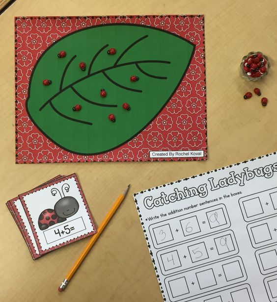 Catching Ladybugs Addition and subtraction - Add ladybugs to find the answers!