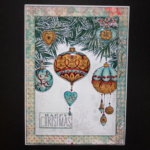 This is the Elegant Baubles set designed by Sharon Bennett for Hobby Art. Clear set contains 12 Clear stamps. This Stunning card was made by Sally Dodger: