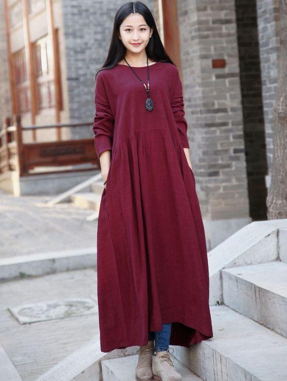 Linen dress Cotton Maxi dress Casual loose long dress Custom-made Plus size dress Autumn Large size dress plus size clothing Winter Dresses by Luckywu on Etsy: