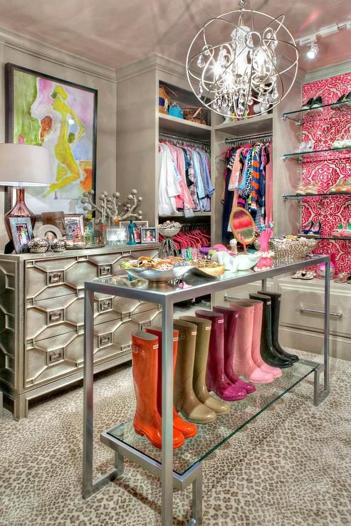 Pink And Gray Closet Features Gray Built Ins Fitted With