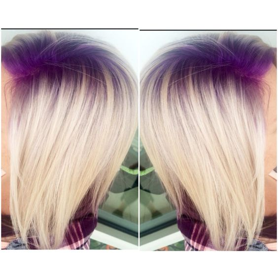 purple violet shadow root with platinum blonde hair