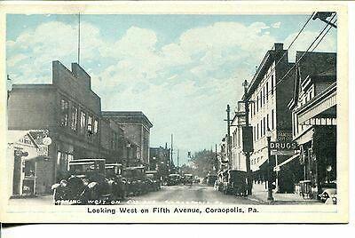 VTG Postcard-Coraopolis-PA-STORE FRONTS-VTG CARS-Famous Dept Store-AR Rogue?