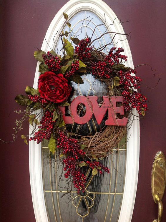 valentines day wreath door valentine wreaths. Black Bedroom Furniture Sets. Home Design Ideas