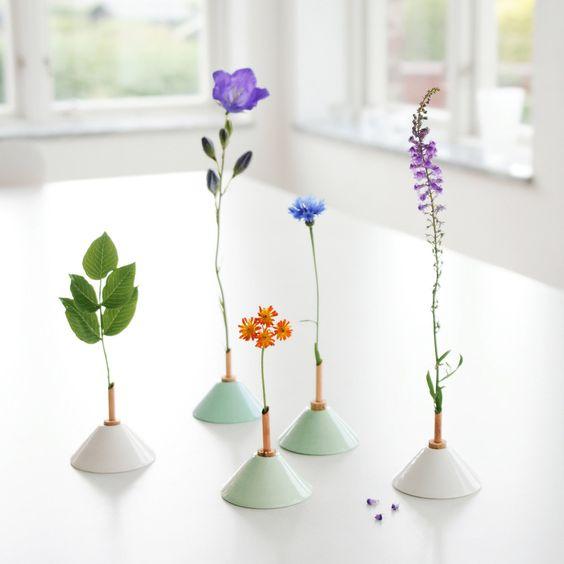 Porcelain, copper & cork mini vase at Dowse