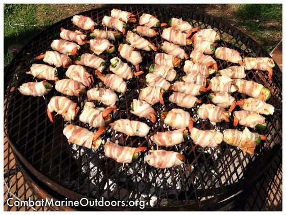 Bacon wrapped shrimp with jalapeños on the grill for Wounded Warrior Marines — at Brooke Army Medical Center.