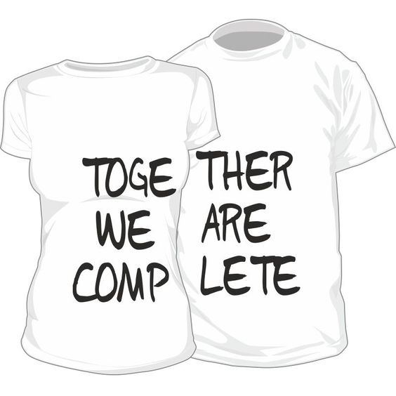 Lot de 2 T-shirts pour amoureux : TOGETHER WE ARE COMPLETE - SiMedio