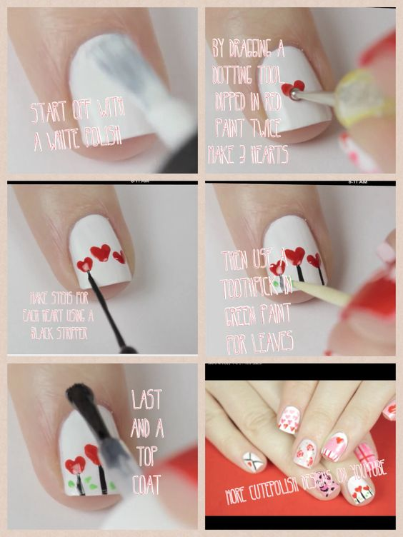 Heart flower nails by cutepolish