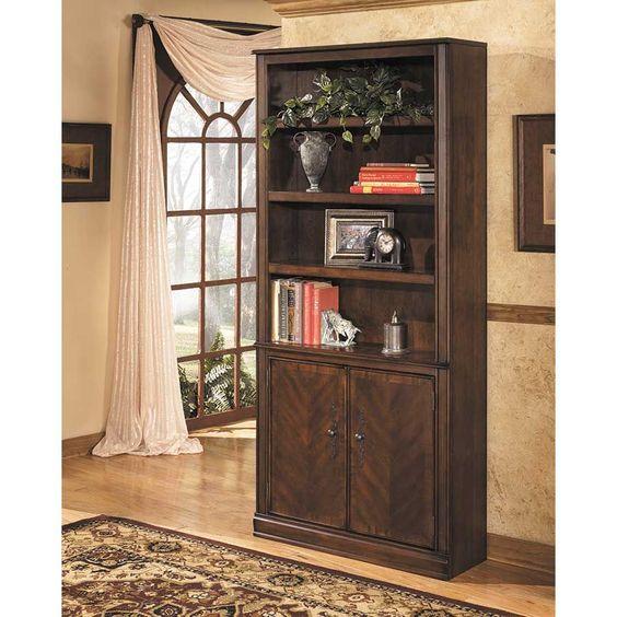 "$279 -Ashley Furniture h527-18 large door bookcase 34""w x 11""d x 75""h"