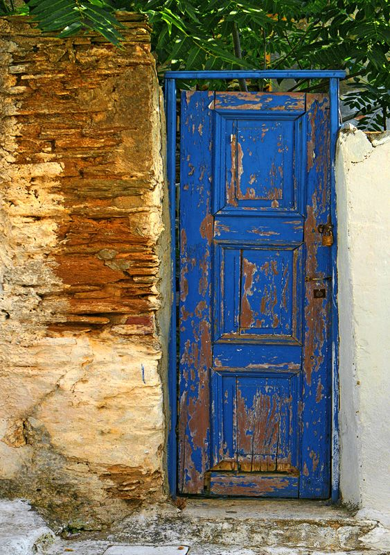 Greek Doorway... Love the shade of blue:
