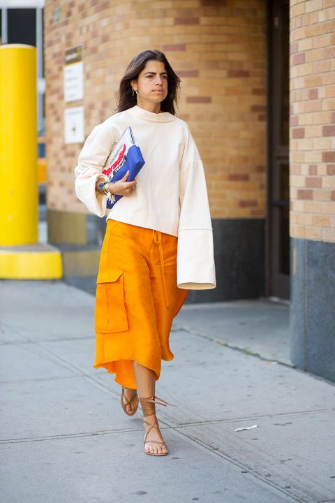 masterful play on color and volume: Leandra Medine in Rosie Assoulin