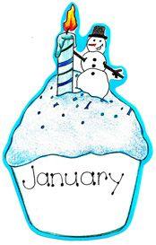 jan birthday clipart January Birthday Cupcake - Open ...