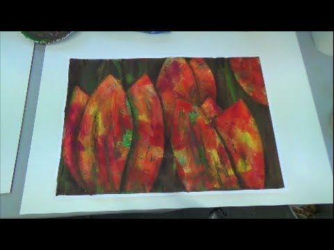 Acrylmalerei Techniken Schabetechnik Tulpen - YouTube