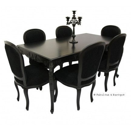 French carved dining table 6 chairs black baroque for Baroque dining furniture