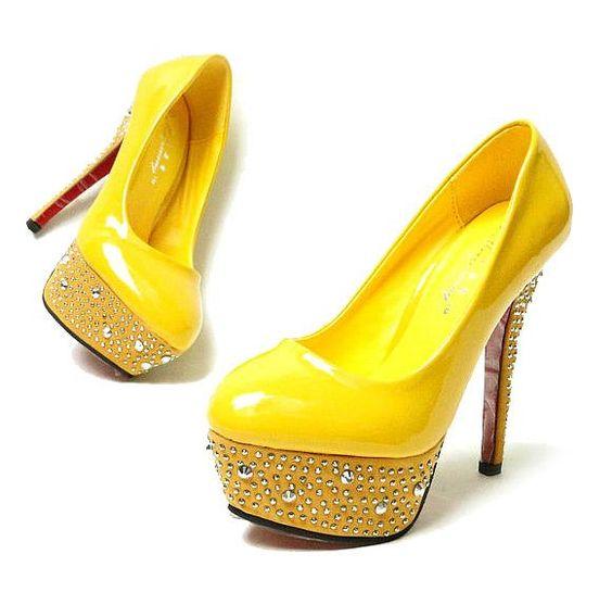 Yellow Bridal/Bridesmaid Super High Heel Platform/Pumps Wedding ...