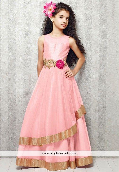 Readymade Pink Georgette Girls Evening Gown - KIDS WEAR &quot-GIRLS ...