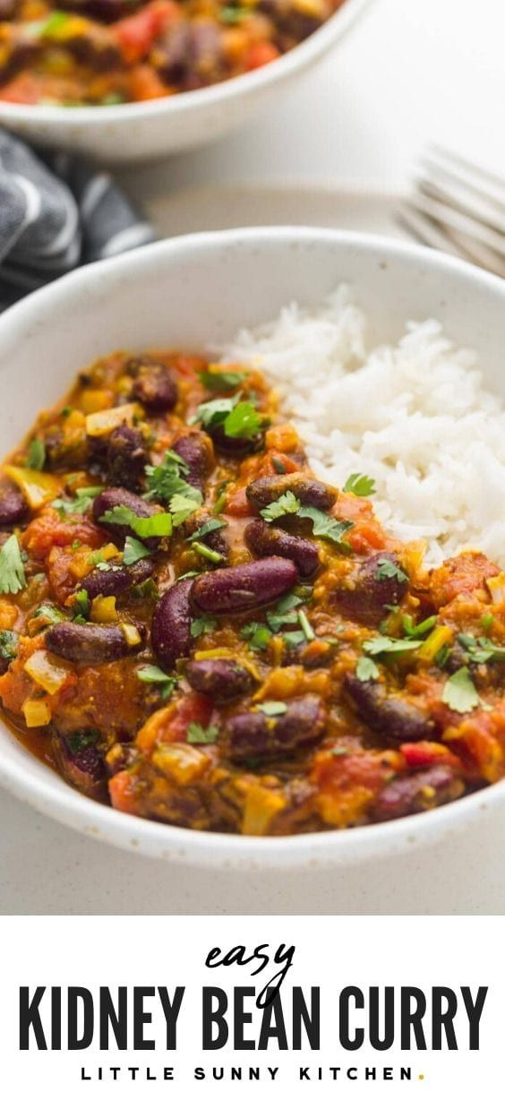 Creamy Red Kidney Bean Curry Served Over Rice This Curry Is Made With Cheap Pantry Ingre Indian Food Recipes Vegetarian Recipes With Kidney Beans Bean Recipes