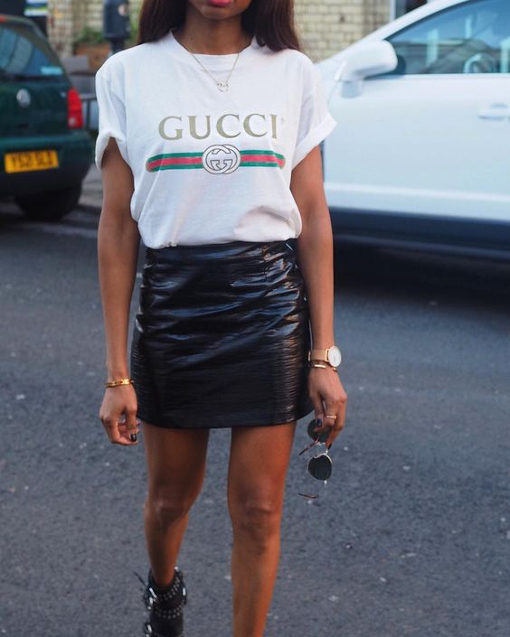 Call us addicted, but we're still not over the Gucci tee (and neither is Instagram). The item has been listed one of the most Instagram items this year. So if you're still unsure whether to invest in the Gucci pieces? Sure you should. At less than £400, it's a pretty small price to pay for Gucci, and with its throwback vibes and the fact Gucci is #trending, it was always going to be a hit. #Gucci #Logo #tshirt #FashionWeek #FashionBloggers #streetstyle