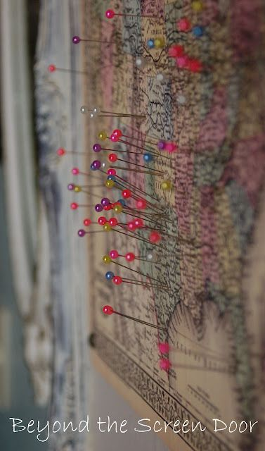 I do this to the map over my mirror.  Every place I go gets a pin. There's a lot of pinless places :-(