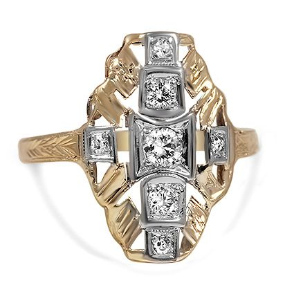 Exuding classic Art Deco style, this beautiful ring features the sparkle of seven diamonds in geometric white gold frames, surrounded by a distinctive yellow gold design. Hand engraving and milgrain embellish the top of the shank