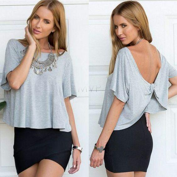 Blusas Femininas 2015 manches courtes T Shirt Plus Size femmes vêtements décontractés coton T Shirts croix retour Backless femmes Tops 34 dans T-shirts de Accessoires et vêtements pour femmes sur AliExpress.com | Alibaba Group