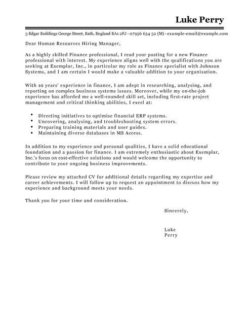 Cover Letter Template Finance | Cover letter template ...