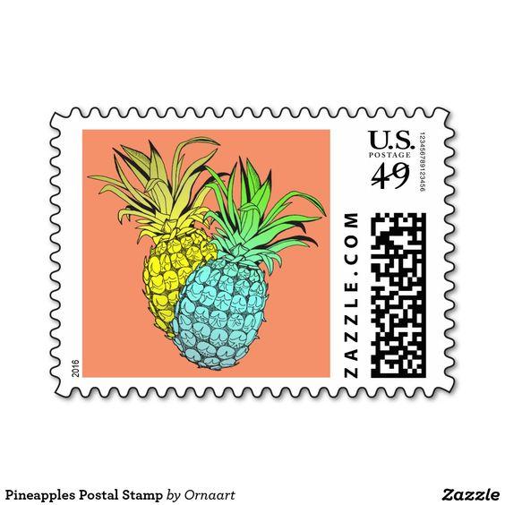 Pineapples Postal Stamp