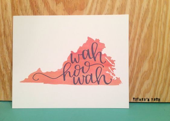8x10 print on 100# paper featuring a watercolored Virginia outline with the University of Virginias wah-hoo-wah chant hand-lettered on top. Perfect graduation gift to the newest Hoo or to someone about to walk The Lawn