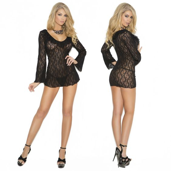 Elegant Moments Black Lace Night Shirt. Available in plus sizes. Bell sleeve, lace night shirt with ruffle detail. Matching g-string included. Accessories not included. Item 5451-5451X.