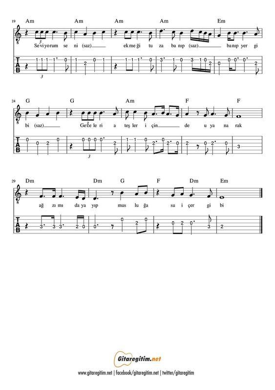 Seviyorum Seni Gitar Nota Tab Gitaregitim Net Notalara Dokulmus Muzik Gitar Muzik Egitimi