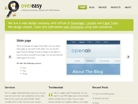 Over Easy is a minimalistically-elegant theme aimed at companies who'd like a serious, all-in-one online web presence. The homepage is perfectly suited for sales, whilst the inner pages & blog has been hand-crafted to publish important info efficiently and promote engagement through the blog.