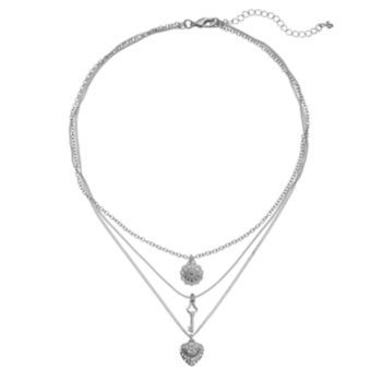 Juicy Couture Multistrand Heart, Flower & Key Pendant Necklace