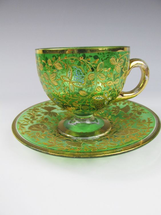 "C1880 Moser Bohemian Green Glass Cup Saucer Fantastic Enamel  ""Exquisite"":"