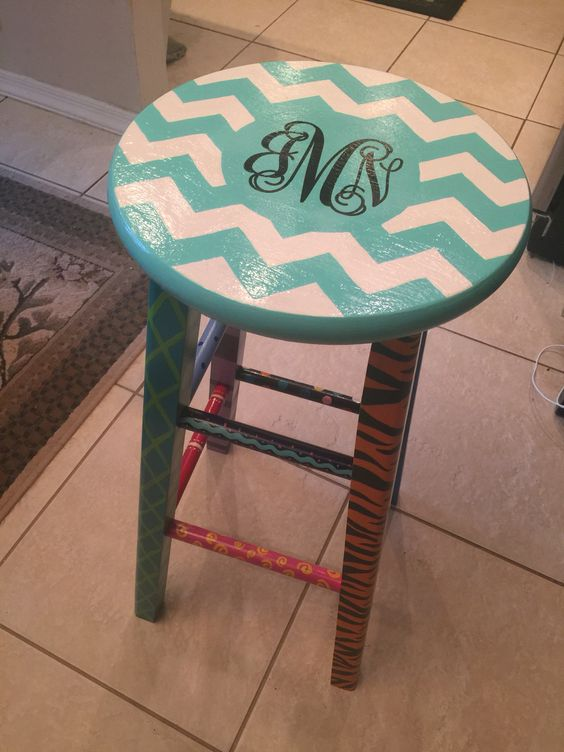 Painted teacher stool