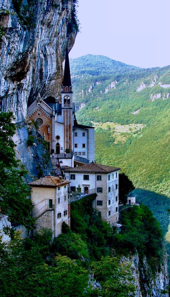 This monastery is worth a visit if you are in the Lake Garda region. Nice walk to get to it with breathtaking views. The sanctuary is built right up against the cliff face. Discovered by Paige Spee at Madonna della Corona, Ferrara, Italy