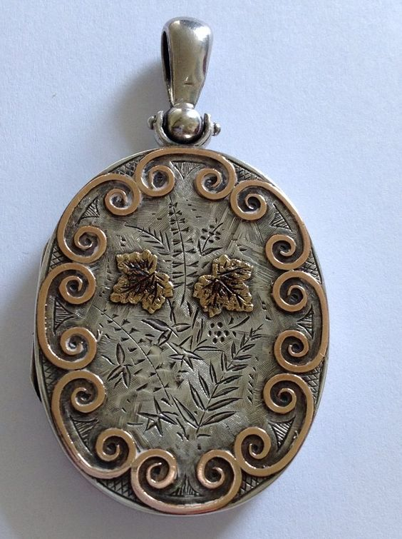 Fine Victorian Sterling Silver & BI Colored Gold Large Oval Hinged Locket