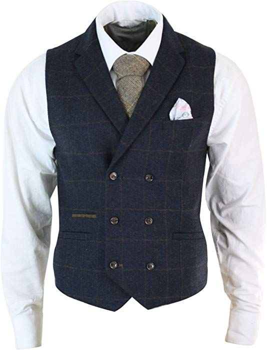 Mens Tweed Peaky Blinders Waistcoat Check Herringbone Double Breasted Slim Fit
