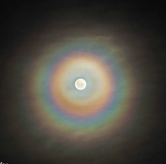 Rings of a lunar corona appear when we see the moon through a thin cloud of water droplets