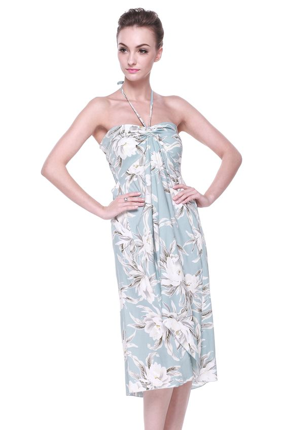 Butterfly Hawaiian Dress in Waterlily Sky Blue