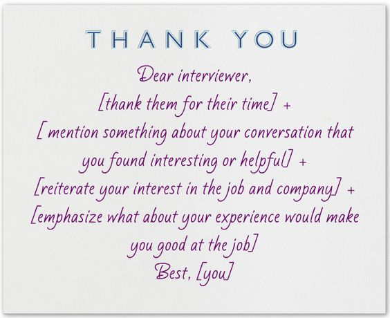 What to write in a thank you note after an interview Thank you - thank you email template