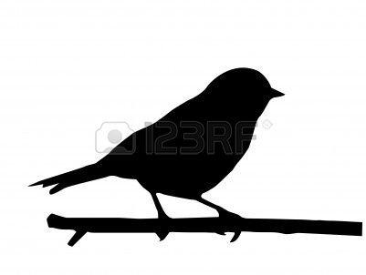 silhouette de le petit oiseau sur une branche  Banque d'images - 7704957
