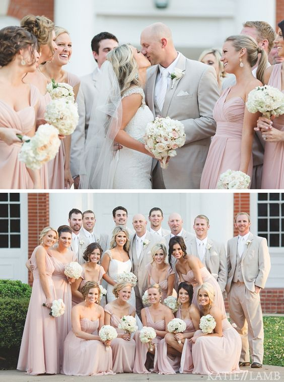 Color palette.  Light pink dresses. Tan/khaki colored tuxes. Fathers will wear black tuxes. Moms will wear taupe or champagne dresses.