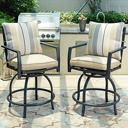 White-2 LOKATSE HOME Patio Height Chair Set of 2 Outdoor Swivel Bar Stools with Seat and Back Cushions